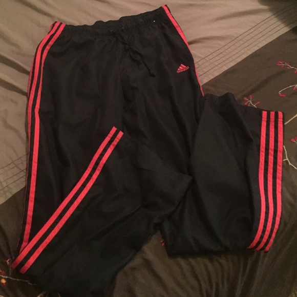 Adidas Black With Red Stripes Adidas Work Out Pants From