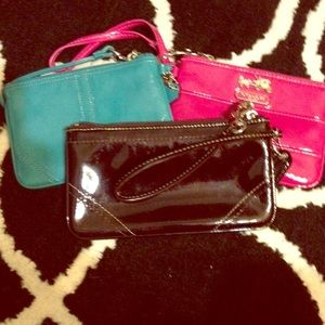Three Coach wristlets-trendy pink, teal & brown!