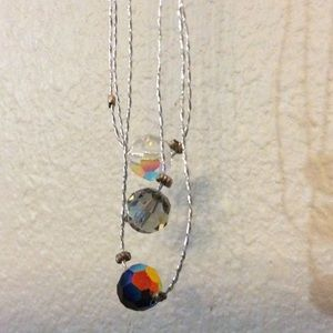 SALE 925 Silver Iridescent Bead Necklace