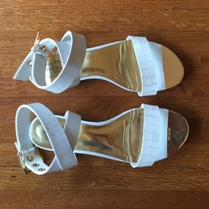 White + Gold Leather Sandals