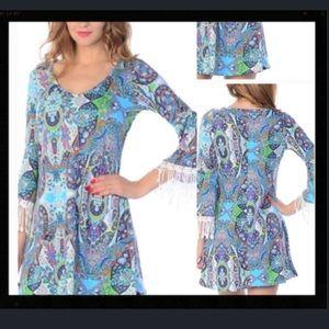 Bellino Clothing Dresses & Skirts - 🎈SALE🎈 Bellino paisley fringe dress.