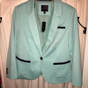 The Limited NWT Mint Green Blazer w/ Navy Piping