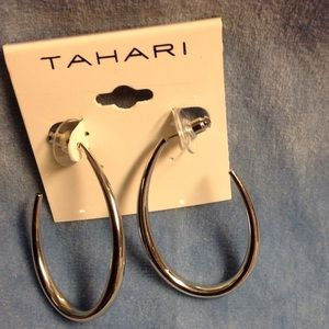 Tahari Jewelry - Tahari Silver Open Semi-hoop Earrings NWT