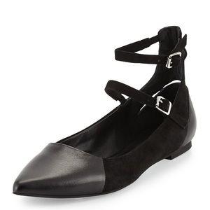 Rebecca Minkoff Black Finn Ankle-Strap Flats