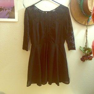 Black lace sleve skater dress