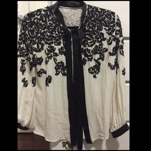DKNY Black and White Blouse