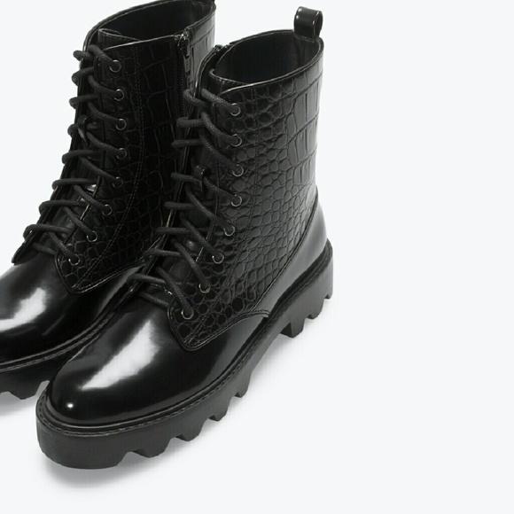 9f390ed9278 Women's Zara Black Croc Military Boots NWT