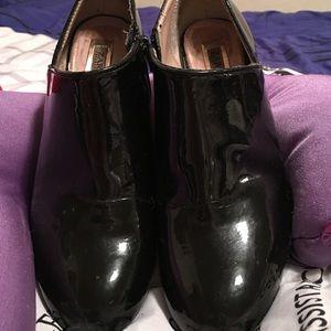 Zara black leather zip up shoes/heels