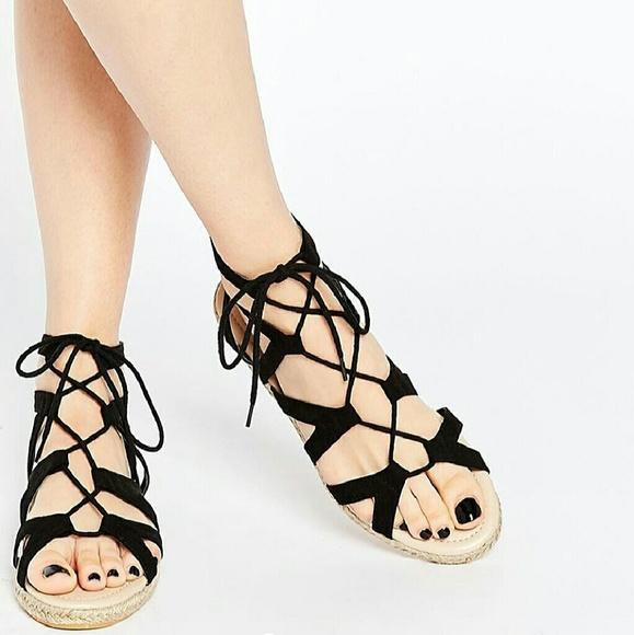 70a2b547481 ASOS Shoes - ASOS Joan Lace-up Espadrille Sandals. 8. Black