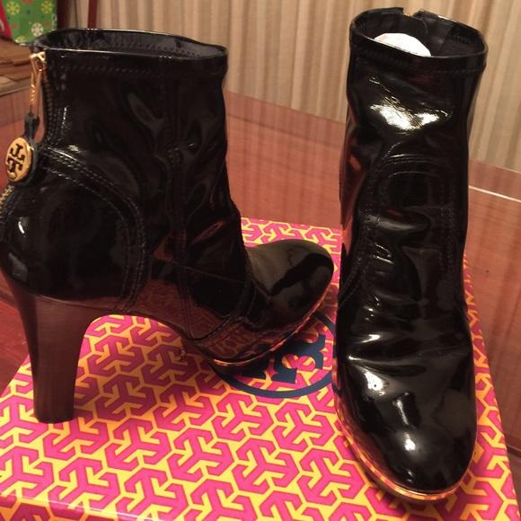 f63f415db06f1a Tory Burch Melrose black patent leather booties. M 56e639806a583061e5053469