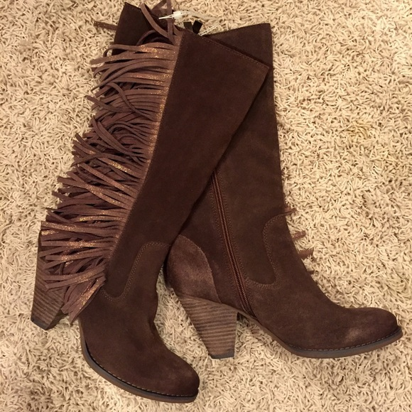 79% off Reba Shoes - Reba Cowgirly Brown Suede Leather Fringe ...