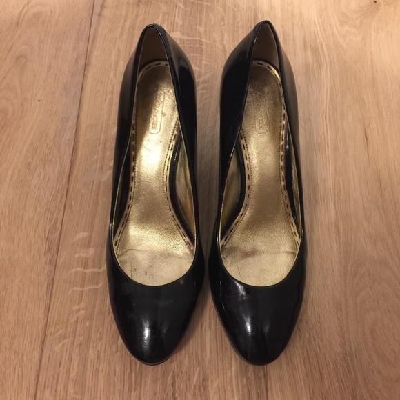 91 coach shoes coach black patent leather pumps