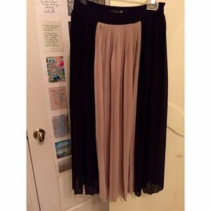 Black and Tan pleated sheer skirt