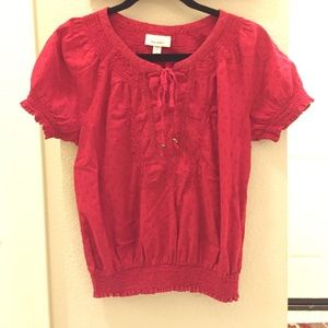 Cotton red peasant top