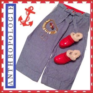 ANTHROPOLOGIE NWT Wide Leg Nautical Sailor Pants 6