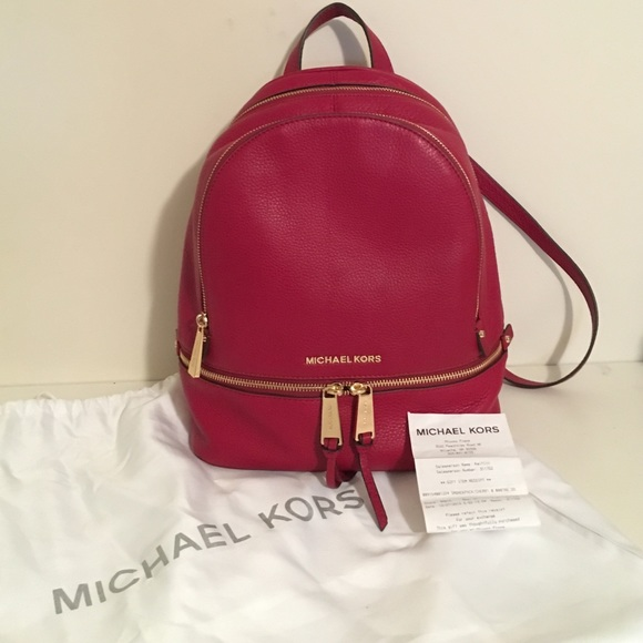 a6c12ce7f310 Michael Kors Bags | Medium Leather Backpack Red | Poshmark