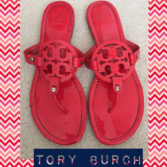 dc18aae08cf Red patent leather TORY BURCH Miller sandal Sz 11.  M 56e66f07a88e7d818705830e