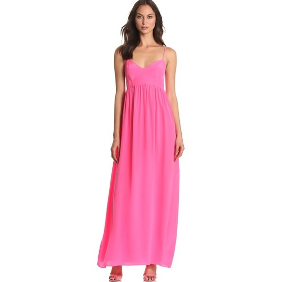 dirt cheap luxury fashion variety design Amanda Uprichard hot pink silk maxi dress
