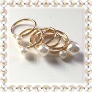 Iconic Legend Jewelry - Pearl Ring  Set by Iconic Legend 6 assorted sizes