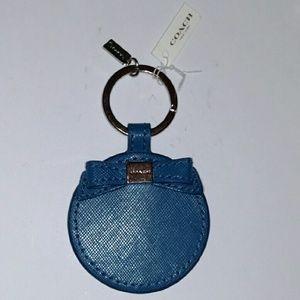 Coach blue mirror bow key chain FOB, NWTS