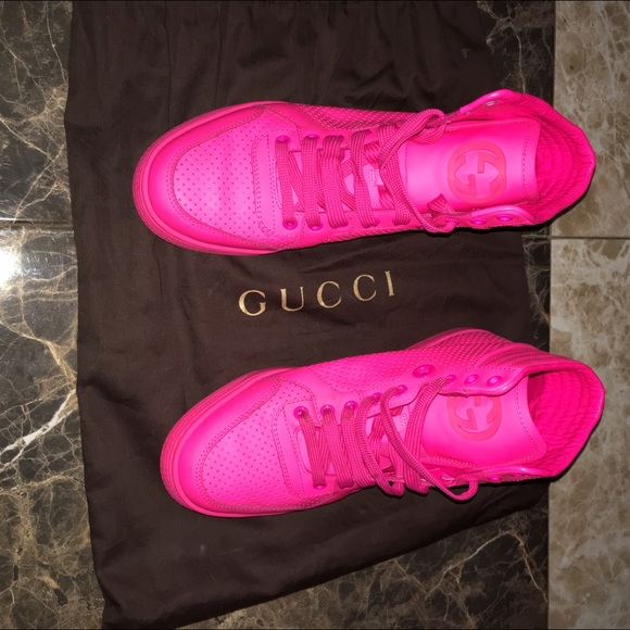 69 off gucci shoes sold hot pink gucci sneakers from bri 39 s closet on poshmark. Black Bedroom Furniture Sets. Home Design Ideas