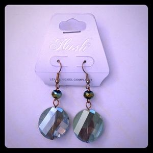 NWT Hush irridescent blue/green Fr wite earrings