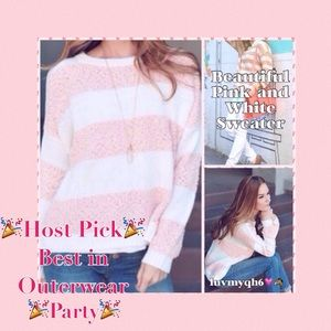 Sweaters - Pink and White Sweater🎉2X HP🎉