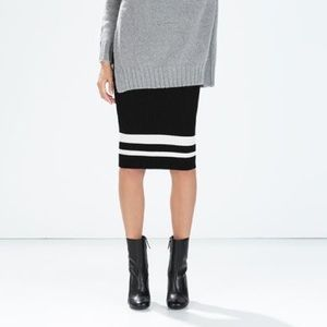 Zara Knit midi skirt with striped hem