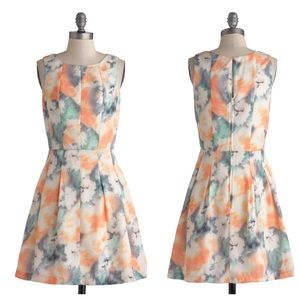 ModCloth Dresses & Skirts - REDUCED❗️Sorbet Peach Multi-Color Watercolor Dress