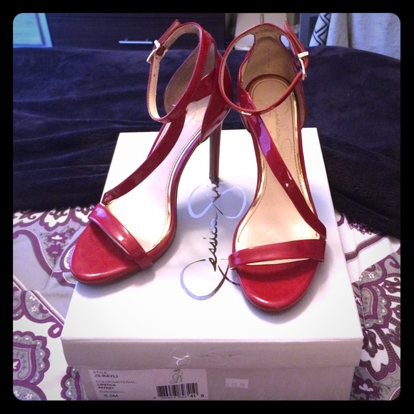 red patent leather strappy heels