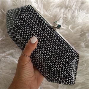Handbags - Vegan snakeskin black silver clutch shoulder bag
