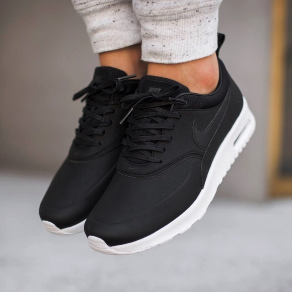 b7fdcff978941 Nike Shoes | Air Max Thea Black Premium Leather Sneakers | Poshmark