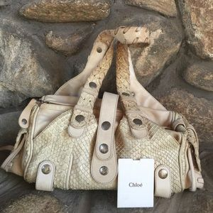 90% off Chloe Accessories - Chloe Brown Python and Leather Large ...