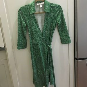 Diane von Furstenberg Green Hearts Wrap Dress