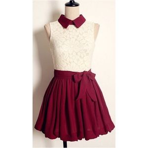 Dresses & Skirts - cream and red collared dress
