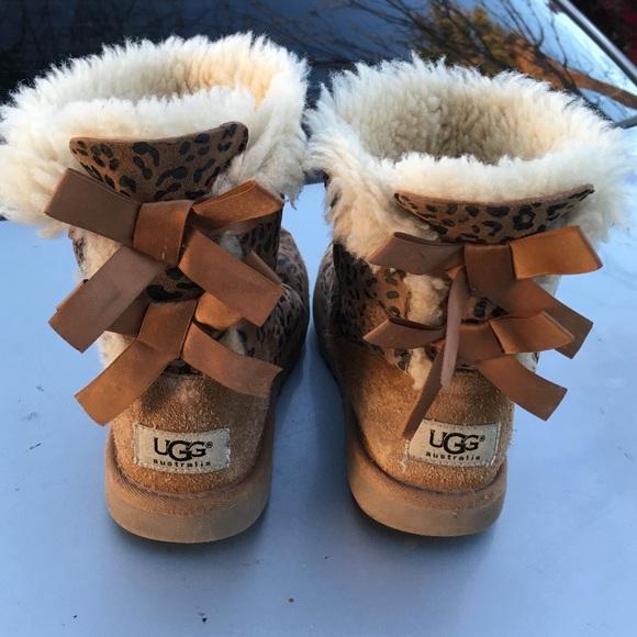 Ugg Bow Animal Print Kids Girls Boots