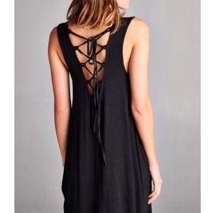 💖 Lace Up Back Black Dress