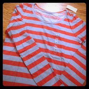 Ann Taylor LOFT striped stretch long sleeve tee