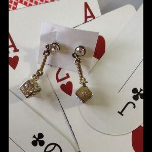 Hot Topic Jewelry - Golden Dice Dangle Rhinestone Gamble Vegas