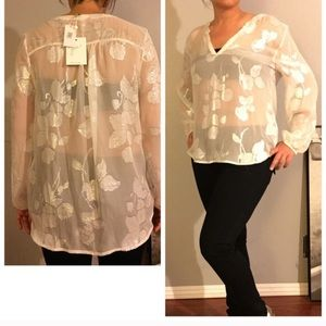 😍BRAND NEW JOIE KASTRA METALLIC FLORAL BLOUSE NWT