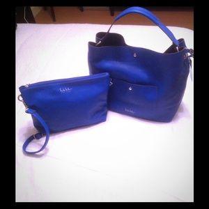 Blue Nicole Miller handbag/tote with crossbody