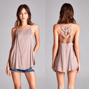 Mocha Cut Out Tank  | SUMMER SALE