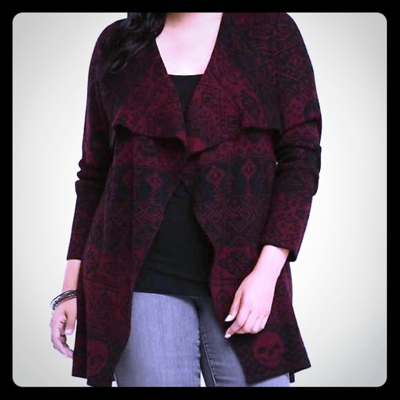 61% off torrid Sweaters - Skull Fair Isle Drape Front Cardigan NWT ...