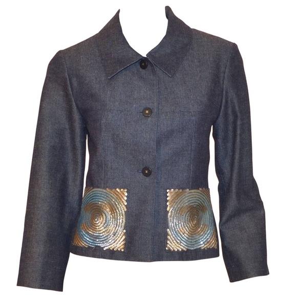 Chanel Jackets Amp Coats Authentic Denim Jacket Sequin Cc