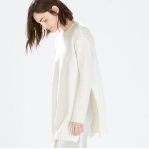 Zara side slits sweater white