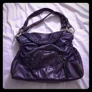 B Makowsky Handbags - B Makowsky Purple Leather Satchel