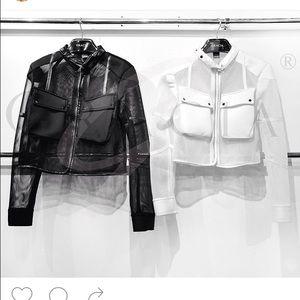 Gracia Jackets & Blazers - Gracia mesh  trim in faux leather spring jacket 🎉