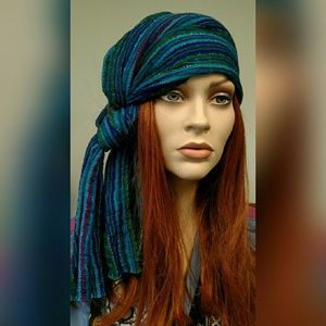 CLEARANCE Blue Striped Chale Woven Headscarf