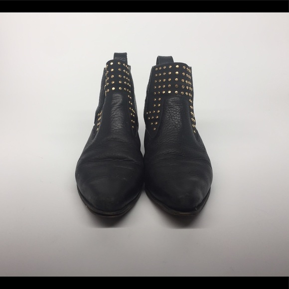 Chloe Gold Stud Black Leather Boots 39