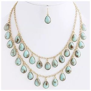 Custom Jewelry - D9 Mint Green Gold Sunstone Look Layered Necklace